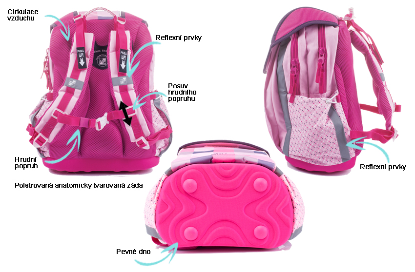 Anatomický batoh Ergo Junior  lehký školní batoh s pevným dnem a 2  prostornými komorami bf8671f9b9