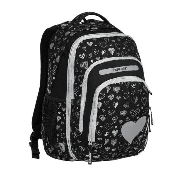 3d0c6b2469 Školní batoh EXPLORE BAR Black Hearts 2 v 1 a doprava zdarma