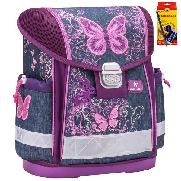 f0dd2737c61 Školní batoh Belmil 403-13 Purple Flying Butterfly+ doprava a potřeby  Koh-i-noor ZDARMA