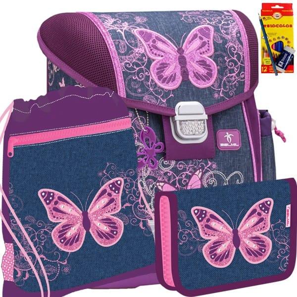 Školní batoh Belmil 403-13 Purple Flying Butterfly - SET + doprava a potřeby Koh-i-noor zdarma
