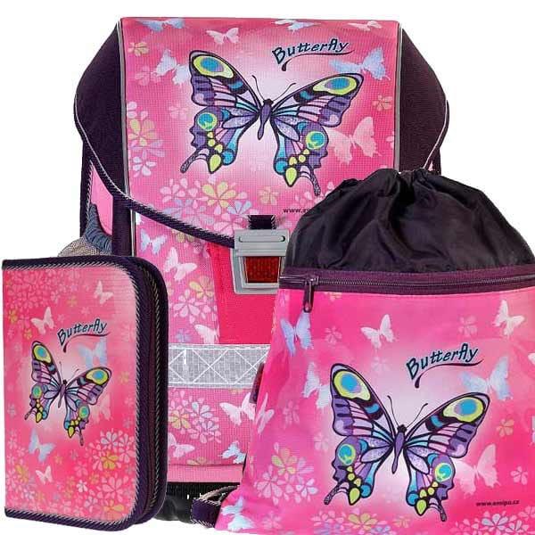 938b0cee03 Školní aktovka Emipo Ergo Two Butterfly - 3dílný set + desky zdarma