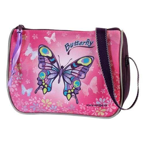 Emipo Dívčí kabelka Butterfly kabelka lodičkového tvaru uzavíraná zipem