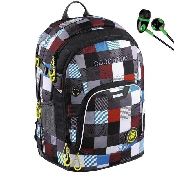 Školní batoh Coocazoo RayDay, Checkmate Blue Red + sluchátka a doprava zdarma