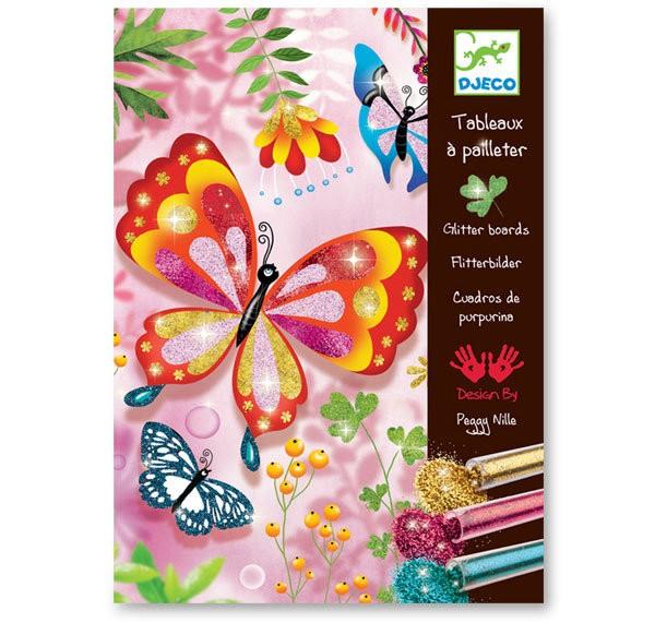 Malování barevným pískem - motýlci