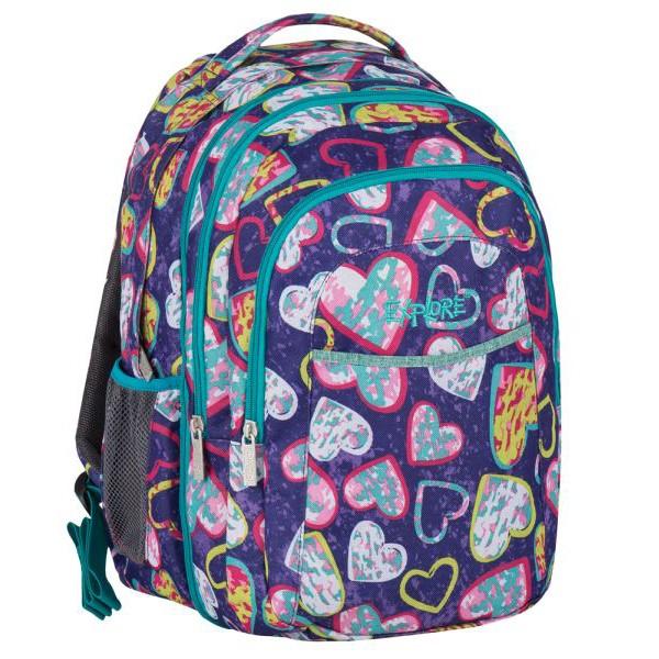 Školní batoh EXPLORE Srdíčka 2 v 1 fialový  86d77ca83a