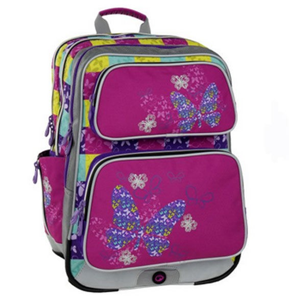 Bagmaster školní batoh GALAXY 6 B PINK/BLUE/YELLOW (růžová/modrá/motýl)