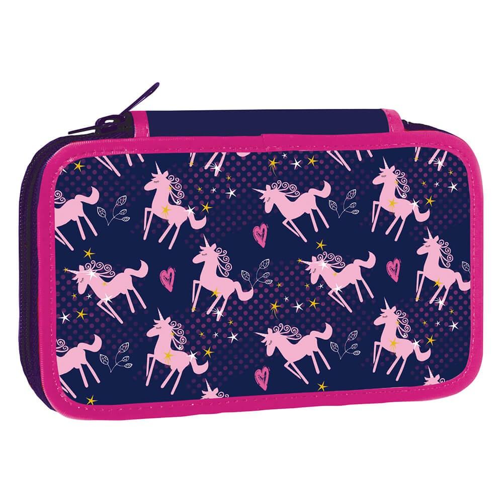 Školní penál třípatrový Pink Unicorn