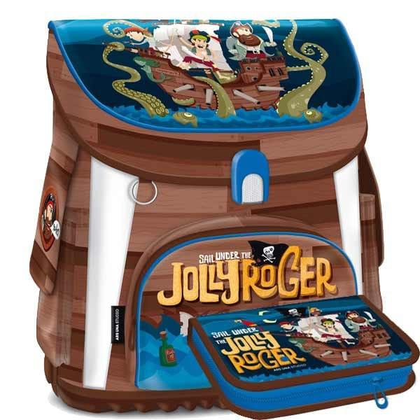 Školní aktovka Ars Una Pirát Jolly Roger - 2dílný set