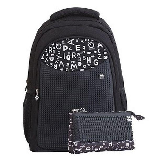 a8fc6b8378 Školní pixelový batoh PXB-16 černá abeceda s penálem