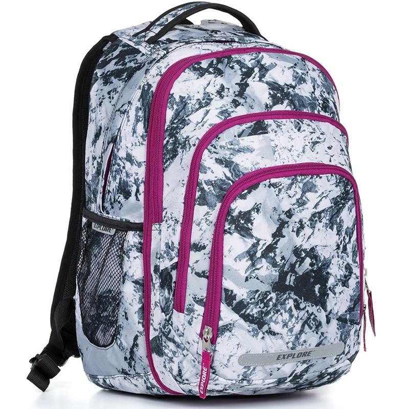 b9174847b2 Školní batoh EXPLORE BAR Snow 2 v 1