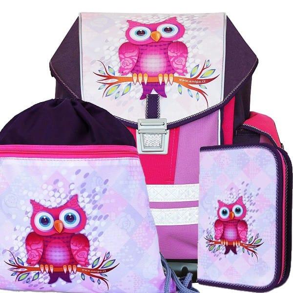 Školní batoh Emipo Ergo One Sova 3dílný set